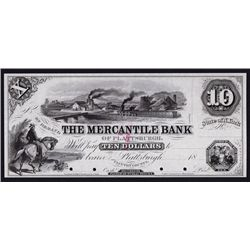 Mercantile Bank of Plattsburgh, 1850's Proof Obsolete Banknote.
