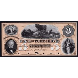 Bank of Port Jervis, 1857 Proof Obsolete Banknote.