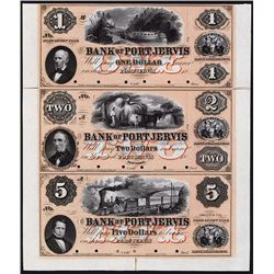 Bank of Port Jervis, 1857 Uncut Full Color Proof Sheet of 3.