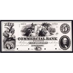Commercial Bank of Rochester, 1850's Proof Obsolete Banknote.