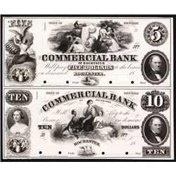 Commercial Bank of Rochester, 1850's Uncut Proof Sheet of 2.