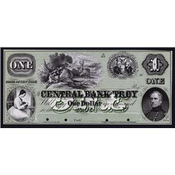 Central Bank of Troy, 1859 Proof Obsolete Banknote.