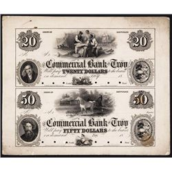 Commercial Bank of Troy, Uncut Pair of Proofs.