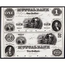 Mutual Bank, 1850's Uncut Proof Sheet of 2.