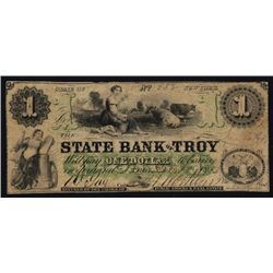 State Bank of Troy, $1 NY Obsolete, Haxby Plate Note..