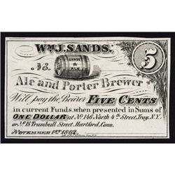 Wm. J. Sands Ale Obsolete Scrip Note and Encased Postage Issuer.