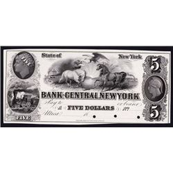 Bank of Central New York, 1850's Proof Obsolete Banknote.