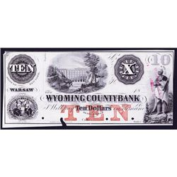 Wyoming County Bank, 1850's Proof Obsolete Banknote.