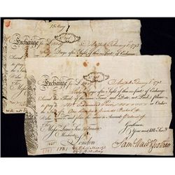 Samuel Ward & Brothers 1793, Lot of 2 First of Exchanges From New York.