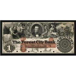 Forest City Bank Proof Banknote.