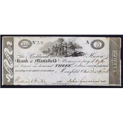 Richland & Huron Bank of Mansfield Obsolete Banknote.