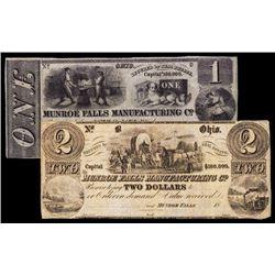 Munroe Falls Manufacturing Co. Obsolete Banknote Pair.