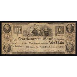 Northampton Bank, $10 1839 Obsolete Banknote.