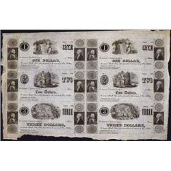 Cattawissa, Col.Co., PA Uncut Generic Merchant's Scrip Sheet of 6.