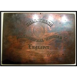 C.Welsh Advertising Copper Printing Plate.