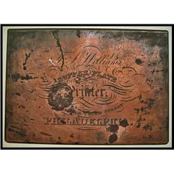 J. Hufty Engraved Plate for T. Williams Advertising Copper Printing Plate.