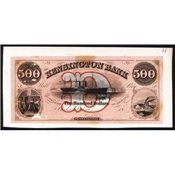 Kensington Bank in the County of Philadelphia, 1850's Full Color Proof Obsolete Banknote.