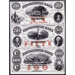 Kensington Bank in the County of Philadelphia, 1850's Full Color Uncut Proof Sheet of 3.