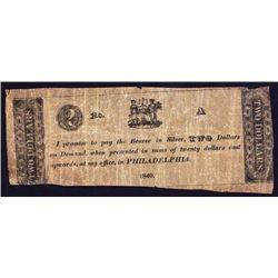 Philadelphia Note Payable in Silver Obsolete Scrip Note.