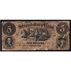Stroudsburg Bank Obsolete Banknote.