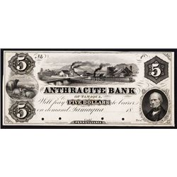 Anthracite Bank, 1850's Proof Obsolete Banknote.