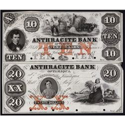 Anthracite Bank, 1850's Uncut Proof Sheet of 2.