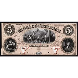Tioga County Bank, 1857 Full Color Proof Obsolete Banknote.