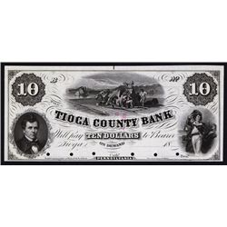 Tioga County Bank, 1857 Proof Obsolete Banknote.