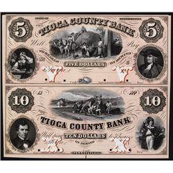 Tioga County Bank, 1857 Uncut Full Color Proof Sheet of 2.