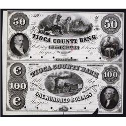 Tioga County Bank, 1857 Uncut Proof Sheet of 2.