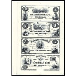 Commercial Bank Uncut Sheet of 4 Proprietary Proofs.