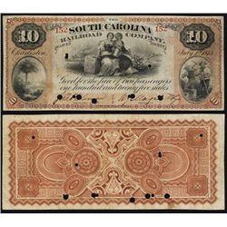 South Carolina Railroad Company, 1873 Obsolete Banknote - Ticket.
