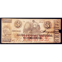 Bank of Chattanooga, 1862 Issued Banknote.
