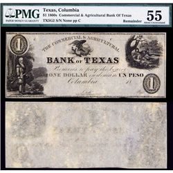 Commercial & Agricultural Bank of Texas, ca.1837 Obsolete Banknote.