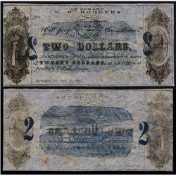 R. W. Rodgers at Jordan's Saline, Texas Obsolete Banknote.