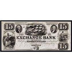 Exchange Bank of Virginia $15 Denomination, ca.1830's Obsolete Proof.