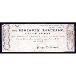 Benjamin Robinson, Stanardsville, Virginia 1861 Scrip Note.