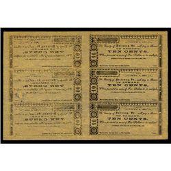 County of Nottoway, Virginia Uncut Obsolete Scrip Sheet.