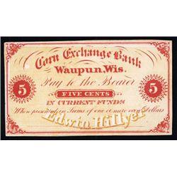 Edwin Hillyer per Corn Exchange Bank, Waupun, Wisconsin Proof Scrip Note.