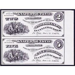 Knapp, Stout & Co. Uncut Obsolete Banknote Sheet of 2 Notes.