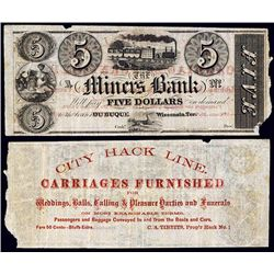 """Miner's Bank Obsolete - Advertising Note """"City Hack Line Carriages"""" On Back."""