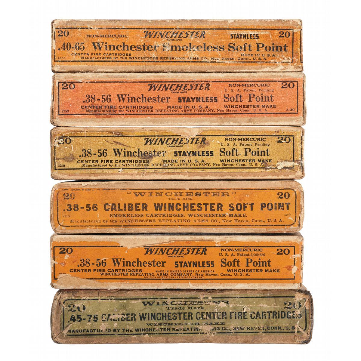 Six Vintage Winchester Ammunition Boxes