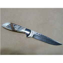 "Knife with engraved stainless steel Damascus 9"" blade and Mammoth Ivory handle"