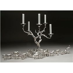 Custom-designed Dallas Safari Club acacia tree candelabra in sterling silver