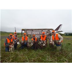 7-day wingshooting for willow ptarmigan and fishing trip for two on the remote Alaska Peninsula