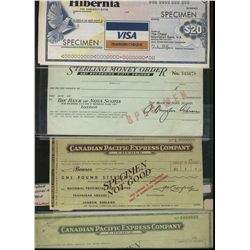 Canada Pacific Express Company Checks. Includes 10 Specimen examples, two different Travelers Checks