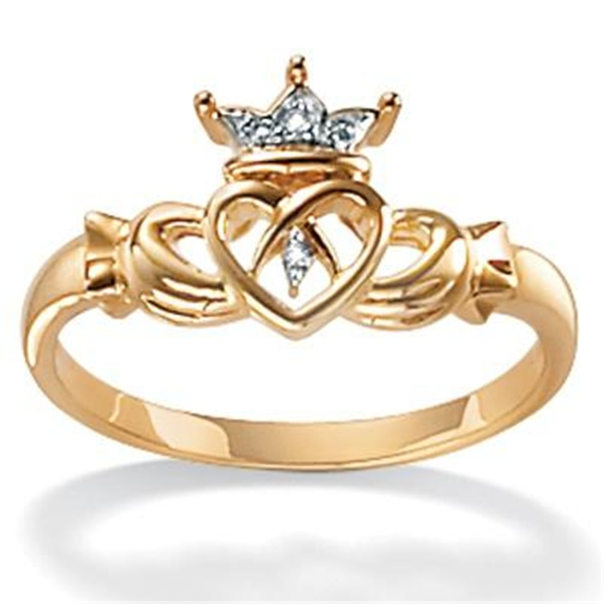 10k Two Tone Gold Diamond Accent Claddagh Ring