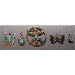 Zuni silver pins & pendents