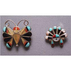 2 Zuni silver pins