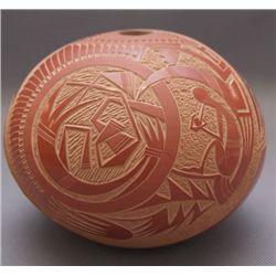 Santa Clara pottery seed jar